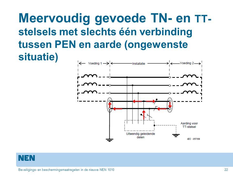 Meervoudig gevoede TN- en TT- stelsels met slechts één verbinding tussen PEN en aarde (ongewenste situatie) Beveiligings- en beschermingsmaatregelen in de nieuwe NEN 101022