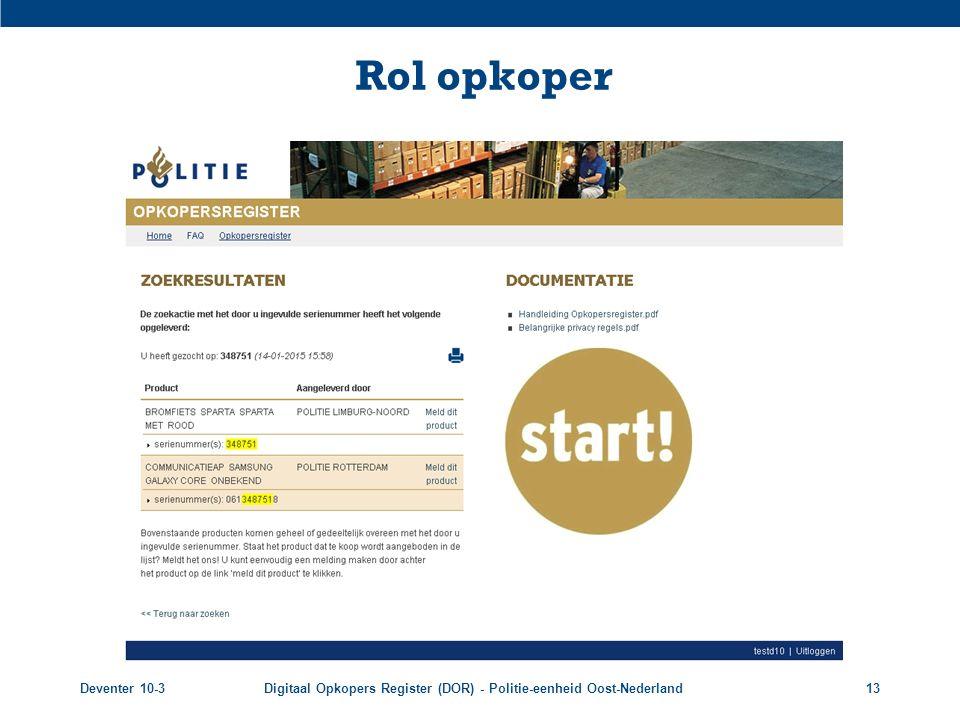 Deventer 10-3Digitaal Opkopers Register (DOR) - Politie-eenheid Oost-Nederland13 Rol opkoper