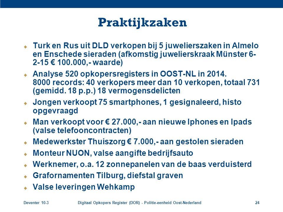 Deventer 10-3Digitaal Opkopers Register (DOR) - Politie-eenheid Oost-Nederland24 Praktijkzaken  Turk en Rus uit DLD verkopen bij 5 juwelierszaken in