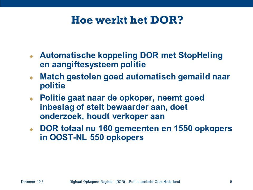 Deventer 10-3Digitaal Opkopers Register (DOR) - Politie-eenheid Oost-Nederland9 Hoe werkt het DOR?  Automatische koppeling DOR met StopHeling en aang