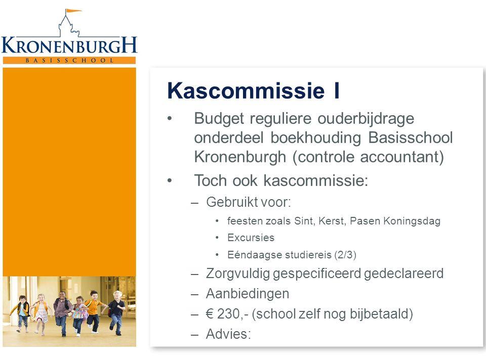 Kascommissie I Budget reguliere ouderbijdrage onderdeel boekhouding Basisschool Kronenburgh (controle accountant) Toch ook kascommissie: –Gebruikt voo