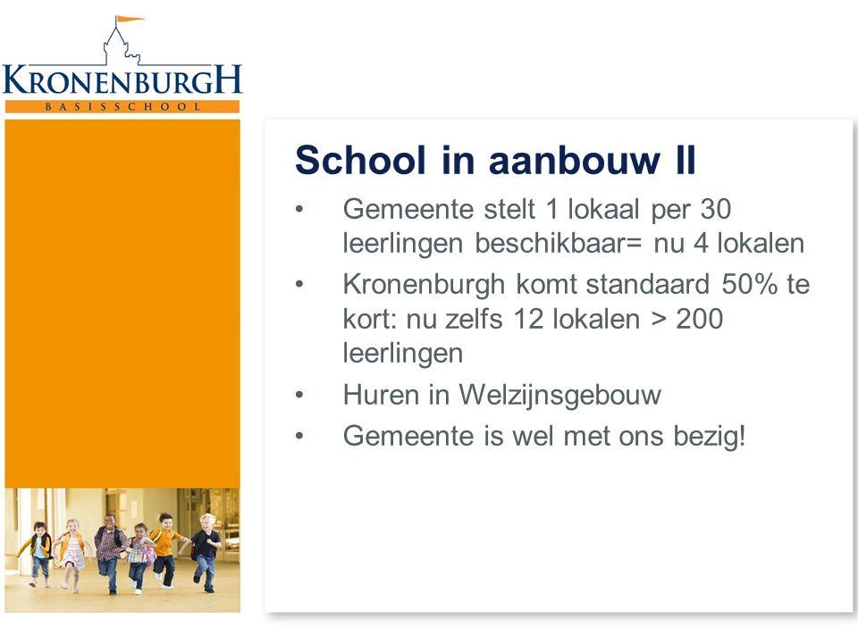 School in aanbouw II Gemeente stelt 1 lokaal per 30 leerlingen beschikbaar= nu 4 lokalen Kronenburgh komt standaard 50% te kort: nu zelfs 12 lokalen >