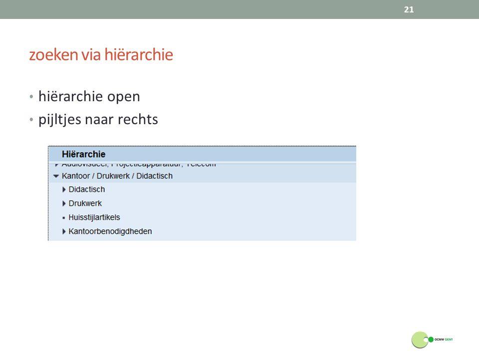zoeken via hiërarchie hiërarchie open pijltjes naar rechts 21