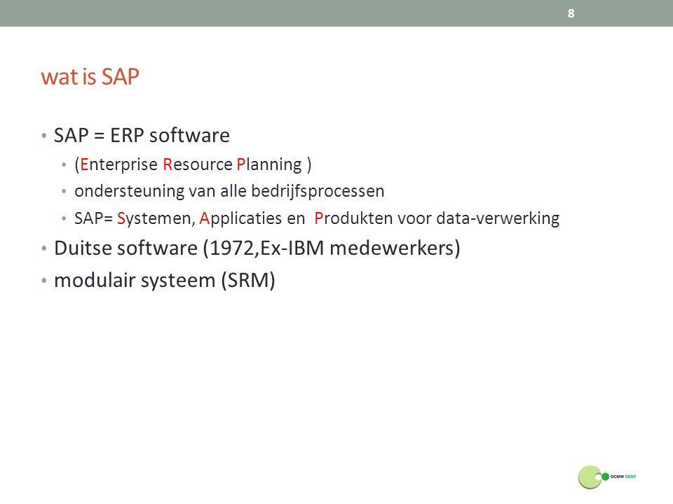 wat is SAP SAP = ERP software (Enterprise Resource Planning ) ondersteuning van alle bedrijfsprocessen SAP= Systemen, Applicaties en Produkten voor da