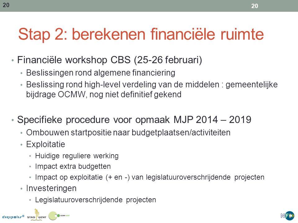 21 Stap 2: berekenen financiële ruimte Op het einde van Stap 2: Koppeling van ontvangsten en uitgaven aan activiteiten / projecten Pot algemene financiering gekend Algemene afspraken rond verdeling van middelen 21