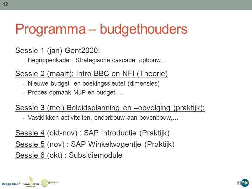 43 Programma – dienst budgettering Sessie 1 BBC en NFI (theorie) op 7 maart VM: - Concept FMJP - Budget- en boekhoudsleutel Sessie 2 SAP introductie (praktijk) op 21 mei NM: - Basis SAP - CPF, Blauwe zaal Sessie 3 SAP op maat (praktijk) op 28 mei VM: - SAP voor budgettering - Onderbergen, Oude Raadzaal 43