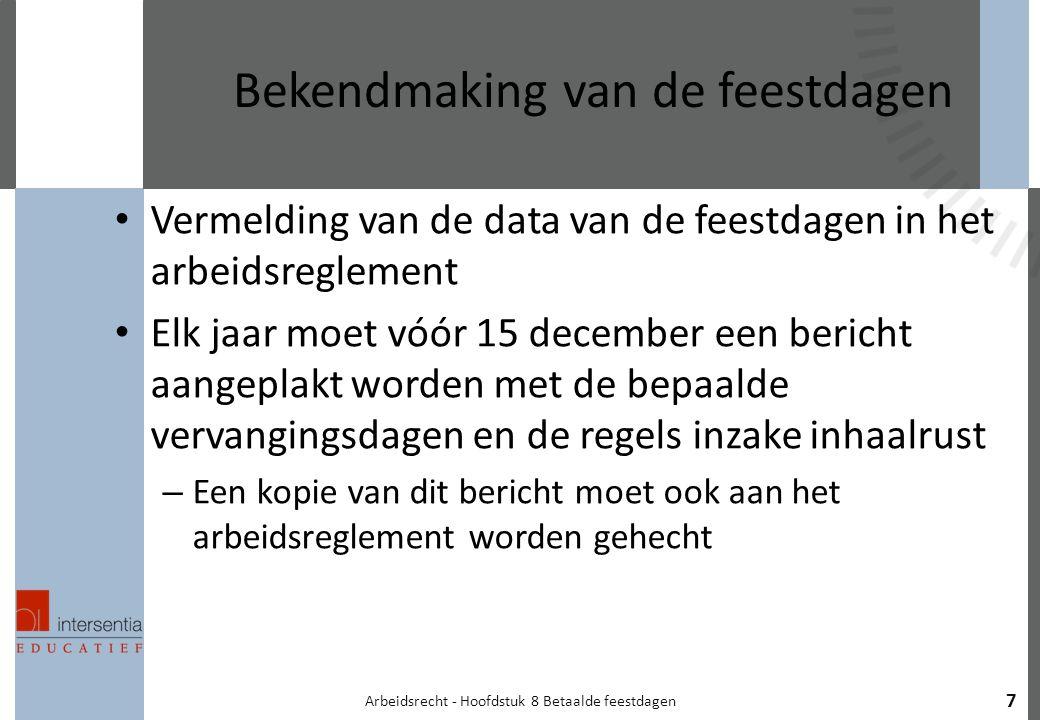 Arbeidsrecht - Hoofdstuk 8 Betaalde feestdagen 7 Bekendmaking van de feestdagen Vermelding van de data van de feestdagen in het arbeidsreglement Elk j