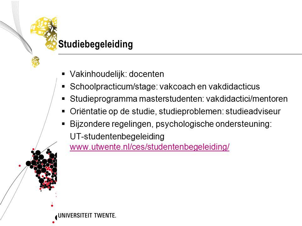 Studiebegeleiding  Vakinhoudelijk: docenten  Schoolpracticum/stage: vakcoach en vakdidacticus  Studieprogramma masterstudenten: vakdidactici/mentor