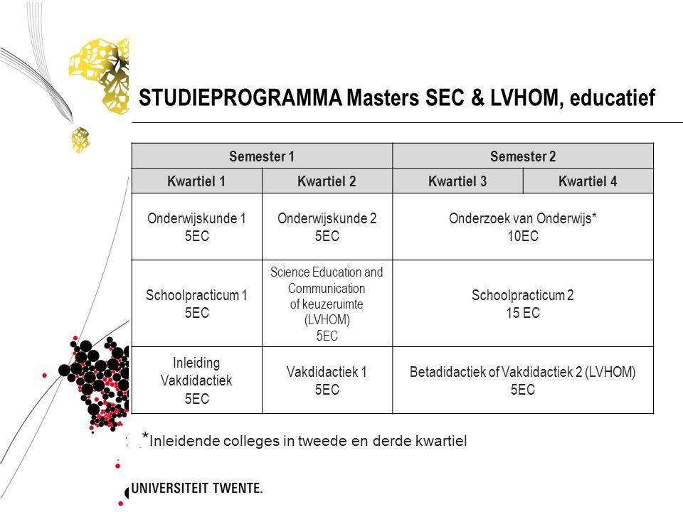 STUDIEPROGRAMMA Masters SEC & LVHOM, educatief Semester 1Semester 2 Kwartiel 1Kwartiel 2Kwartiel 3Kwartiel 4 Onderwijskunde 1 5EC Onderwijskunde 2 5EC