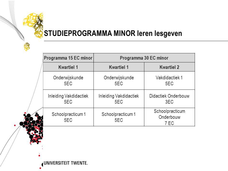 STUDIEPROGRAMMA MINOR leren lesgeven Programma 15 EC minorProgramma 30 EC minor Kwartiel 1 Kwartiel 2 Onderwijskunde 5EC Onderwijskunde 5EC Vakdidacti