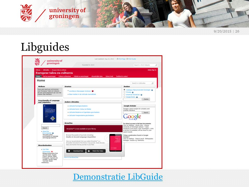 Libguides 9/20/2015 | 26 Demonstratie LibGuide