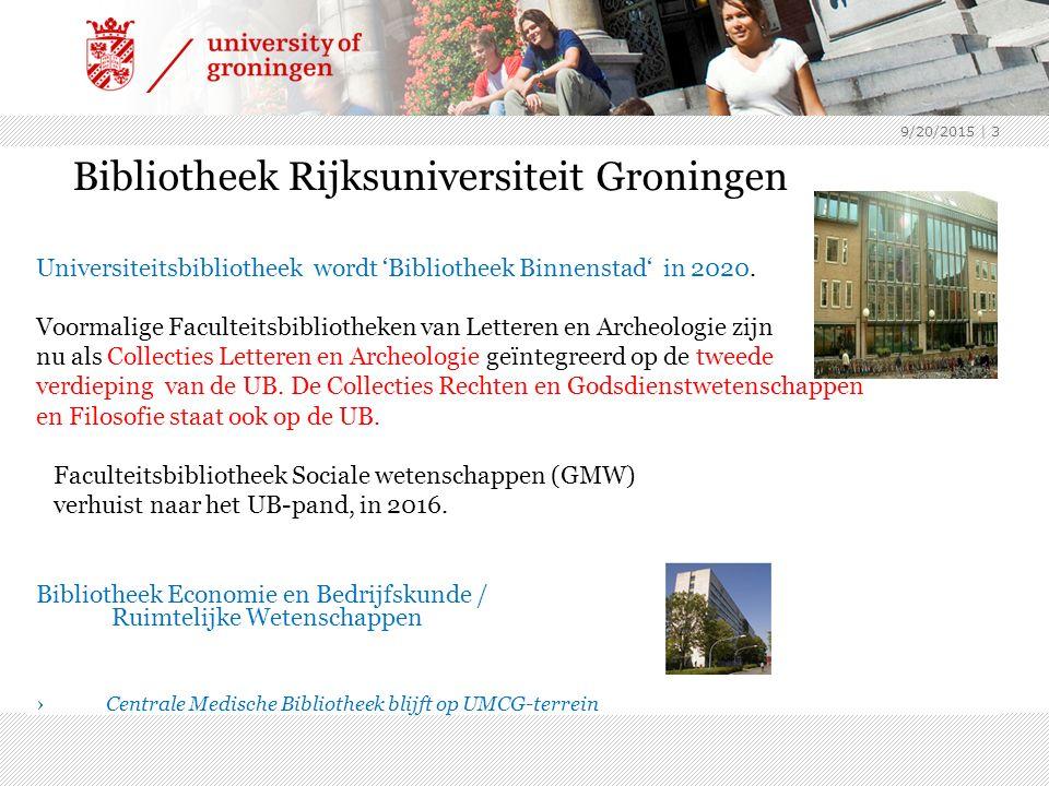 9/20/2015 | 3 Bibliotheek Rijksuniversiteit Groningen Universiteitsbibliotheek wordt 'Bibliotheek Binnenstad' in 2020.