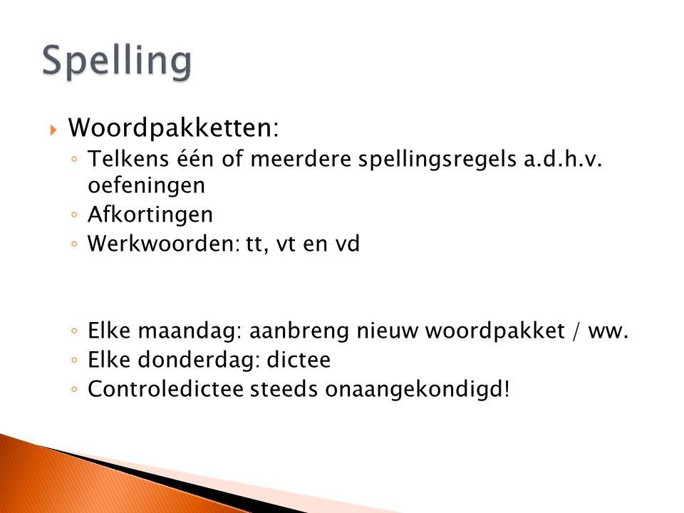  Woordpakketten: ◦ Telkens één of meerdere spellingsregels a.d.h.v.