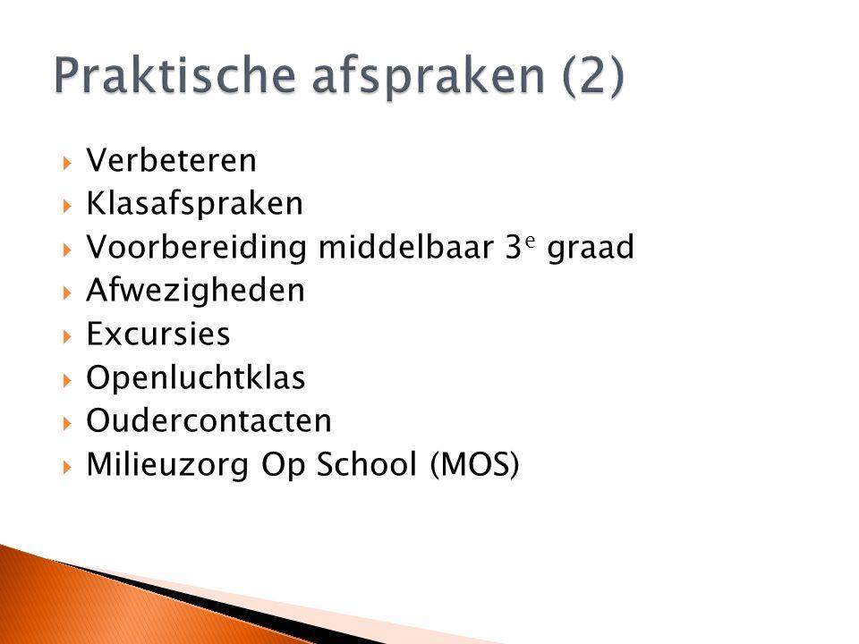  Verbeteren  Klasafspraken  Voorbereiding middelbaar 3 e graad  Afwezigheden  Excursies  Openluchtklas  Oudercontacten  Milieuzorg Op School (MOS)