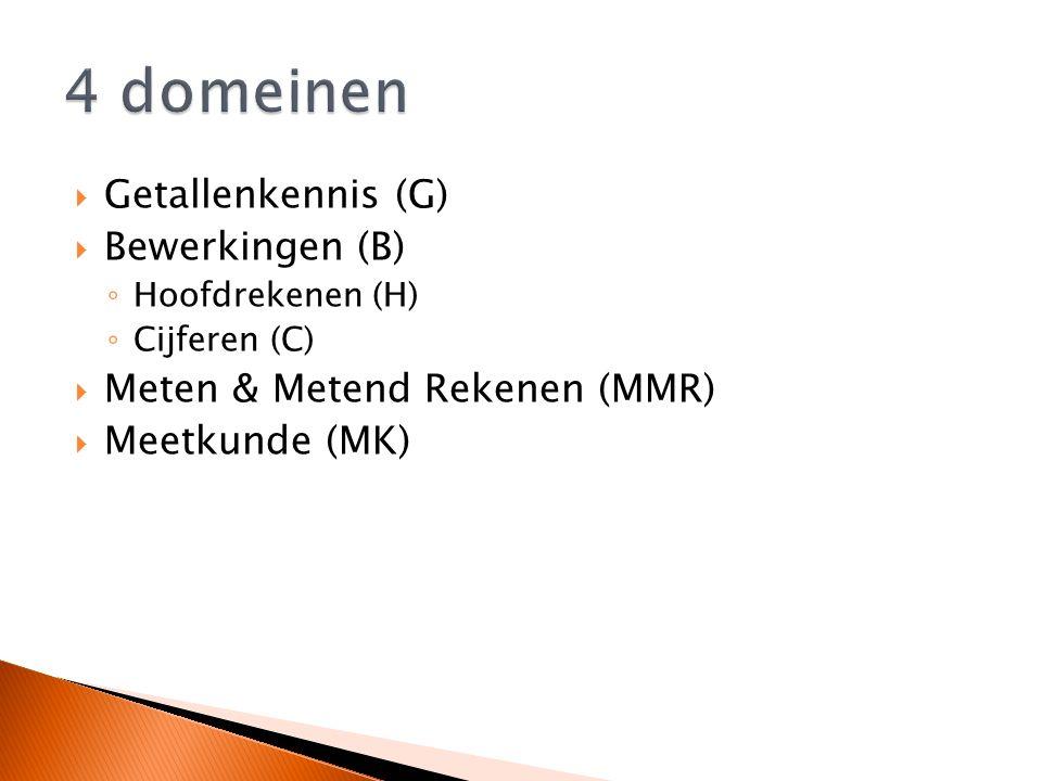  Getallenkennis (G)  Bewerkingen (B) ◦ Hoofdrekenen (H) ◦ Cijferen (C)  Meten & Metend Rekenen (MMR)  Meetkunde (MK)