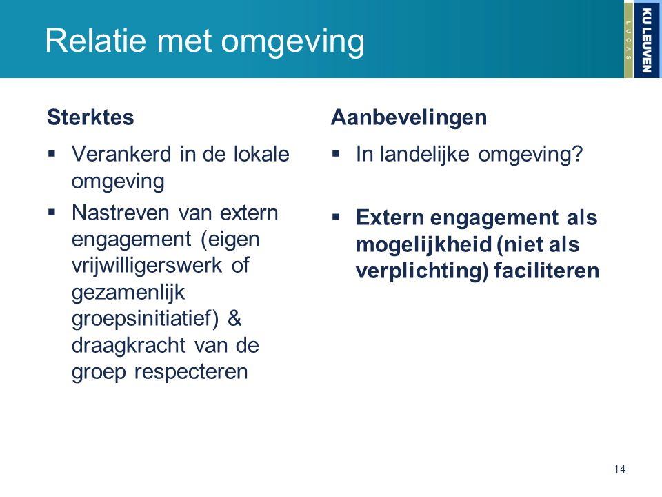 Sterktes  Verankerd in de lokale omgeving  Nastreven van extern engagement (eigen vrijwilligerswerk of gezamenlijk groepsinitiatief) & draagkracht v