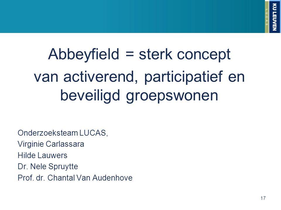 Abbeyfield = sterk concept van activerend, participatief en beveiligd groepswonen Onderzoeksteam LUCAS, Virginie Carlassara Hilde Lauwers Dr. Nele Spr