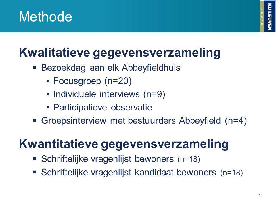 Methode Kwalitatieve gegevensverzameling  Bezoekdag aan elk Abbeyfieldhuis Focusgroep (n=20) Individuele interviews (n=9) Participatieve observatie 