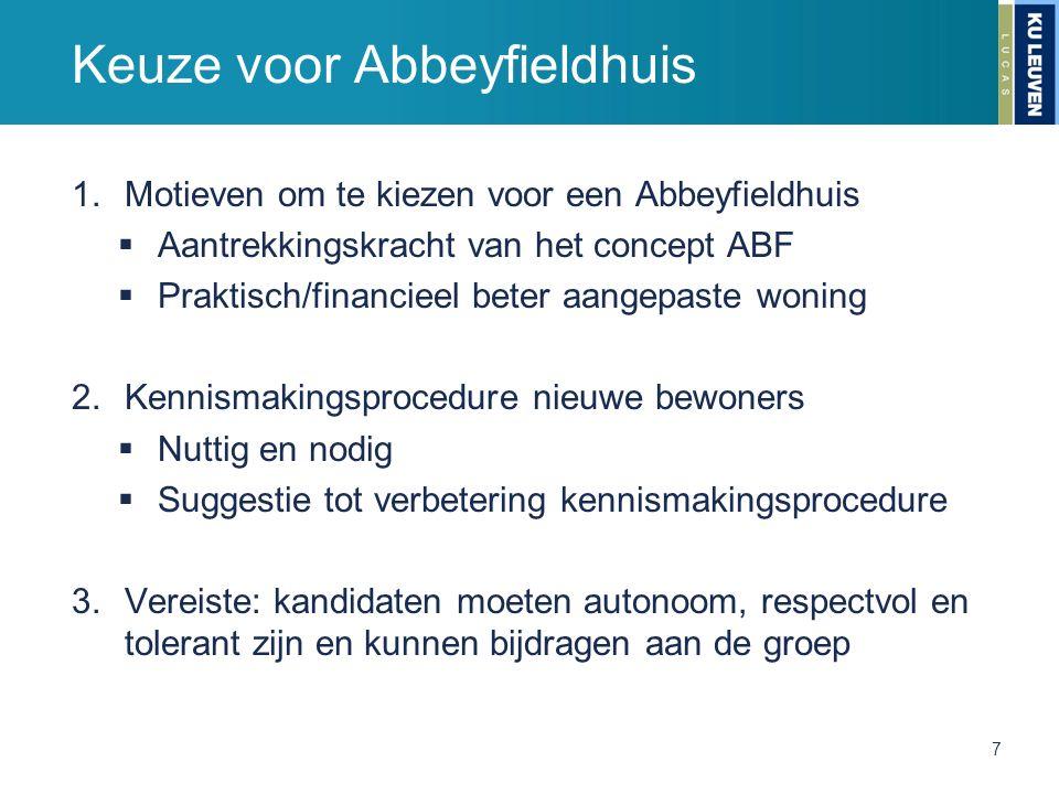 Keuze voor Abbeyfieldhuis 1.Motieven om te kiezen voor een Abbeyfieldhuis  Aantrekkingskracht van het concept ABF  Praktisch/financieel beter aangep