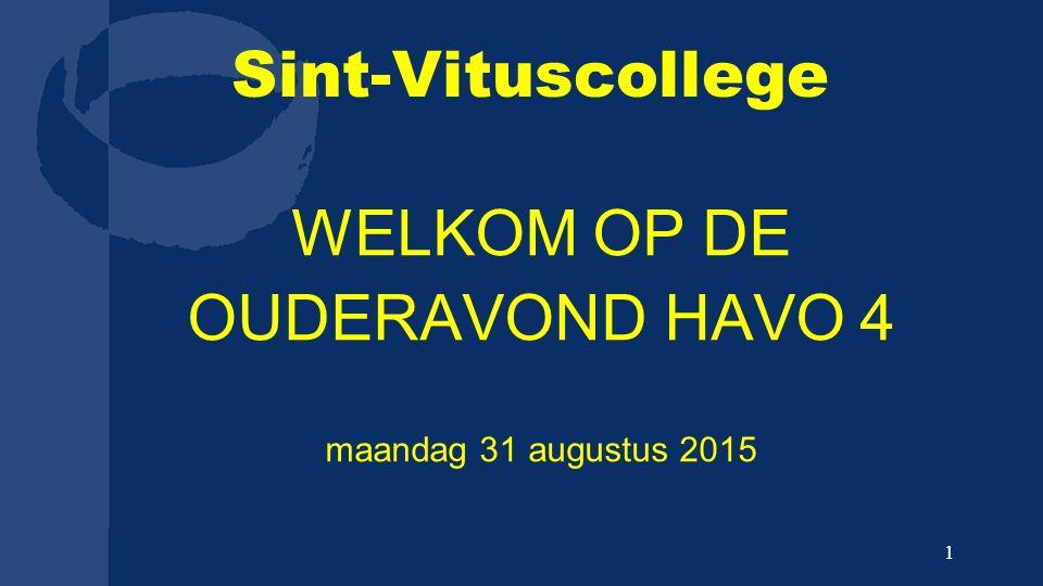 Sint-Vituscollege WELKOM OP DE OUDERAVOND HAVO 4 maandag 31 augustus 2015 1