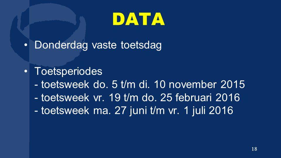 DATA Donderdag vaste toetsdag Toetsperiodes - toetsweek do. 5 t/m di. 10 november 2015 - toetsweek vr. 19 t/m do. 25 februari 2016 - toetsweek ma. 27