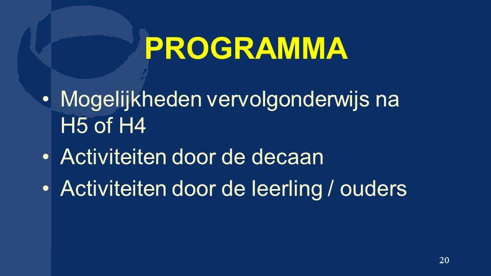 PROGRAMMA Mogelijkheden vervolgonderwijs na H5 of H4 Activiteiten door de decaan Activiteiten door de leerling / ouders 20