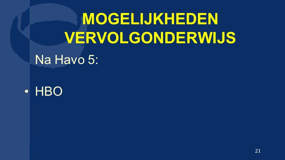 MOGELIJKHEDEN VERVOLGONDERWIJS Na Havo 5: HBO 21