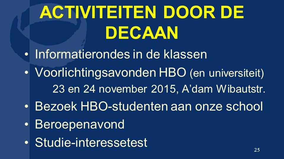 ACTIVITEITEN DOOR DE DECAAN Informatierondes in de klassen Voorlichtingsavonden HBO (en universiteit) 23 en 24 november 2015, A'dam Wibautstr.