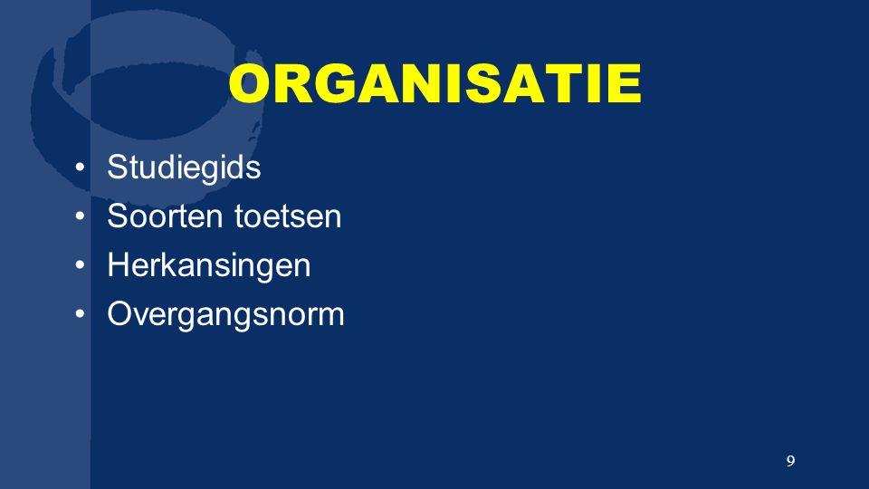 ORGANISATIE Studiegids Soorten toetsen Herkansingen Overgangsnorm 9