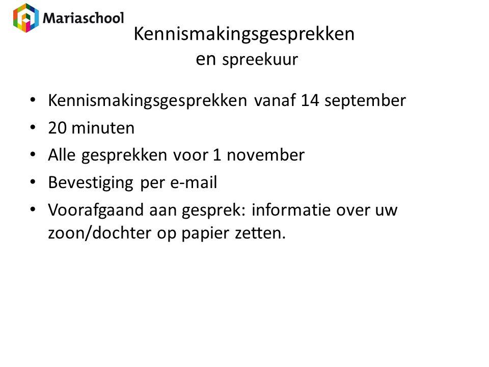 Kennismakingsgesprekken en spreekuur Kennismakingsgesprekken vanaf 14 september 20 minuten Alle gesprekken voor 1 november Bevestiging per e-mail Voor