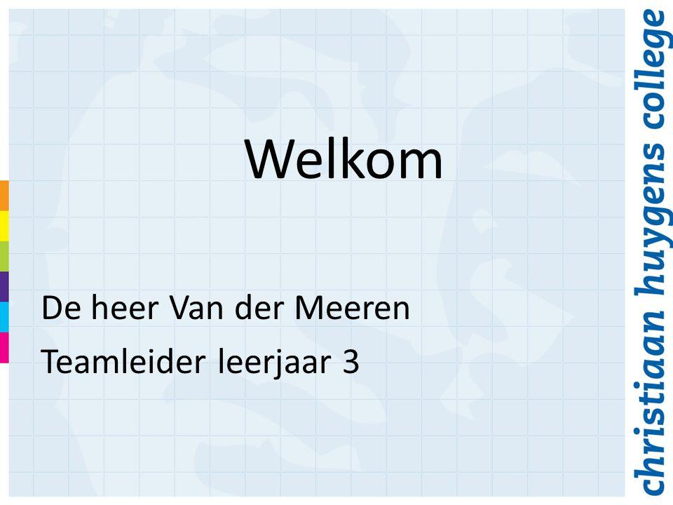 Welkom De heer Van der Meeren Teamleider leerjaar 3