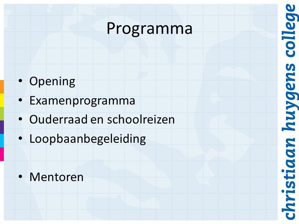 Opening Examenprogramma Ouderraad en schoolreizen Loopbaanbegeleiding Mentoren Programma