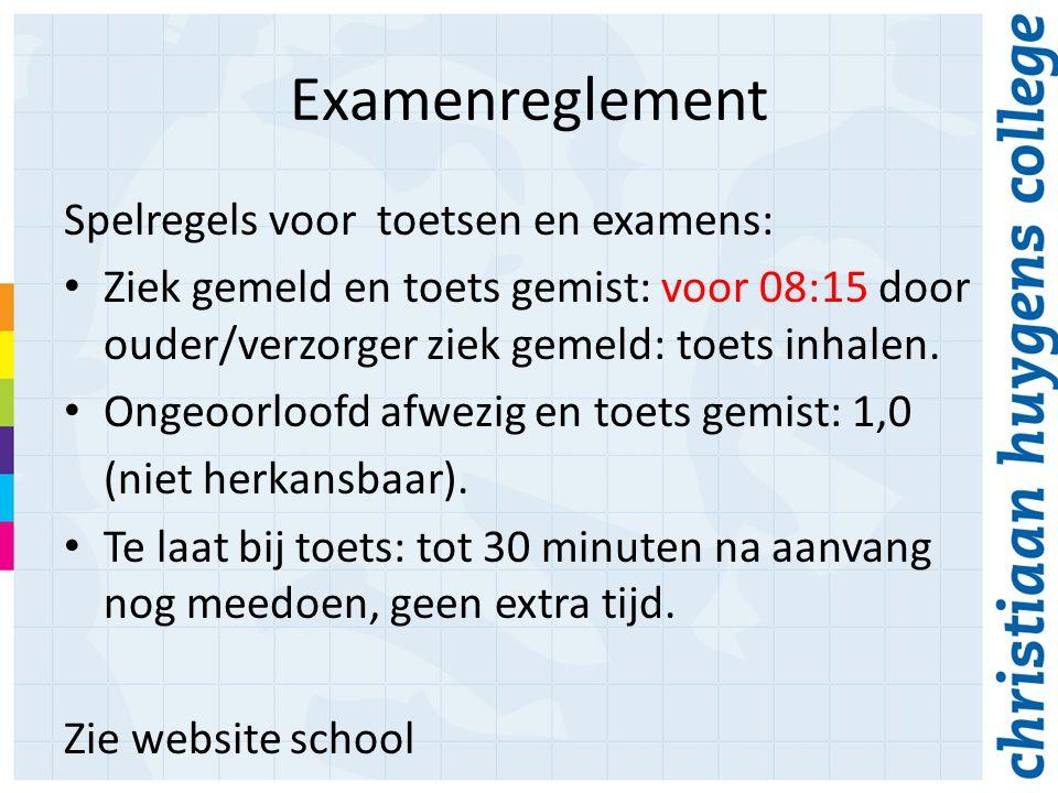 Examenreglement Spelregels voor toetsen en examens: Ziek gemeld en toets gemist: voor 08:15 door ouder/verzorger ziek gemeld: toets inhalen.