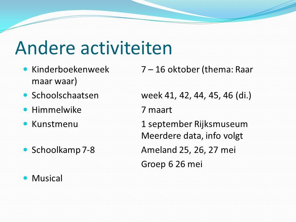 Andere activiteiten Kinderboekenweek 7 – 16 oktober (thema: Raar maar waar) Schoolschaatsen week 41, 42, 44, 45, 46 (di.) Himmelwike 7 maart Kunstmenu