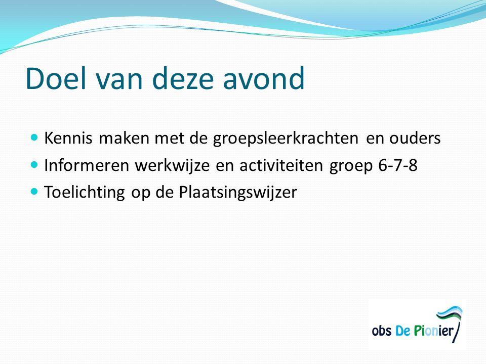 De leerkrachten Groep 6/7 o Maandag: Kim Verhoef o Dinsdag, woensdag, donderdag vrijdag: Nynke Slot Groep 7/8 o Maandag, donderdag, vrijdag: Chantal Vellinga o Dinsdag, woensdag: Kim Verhoef