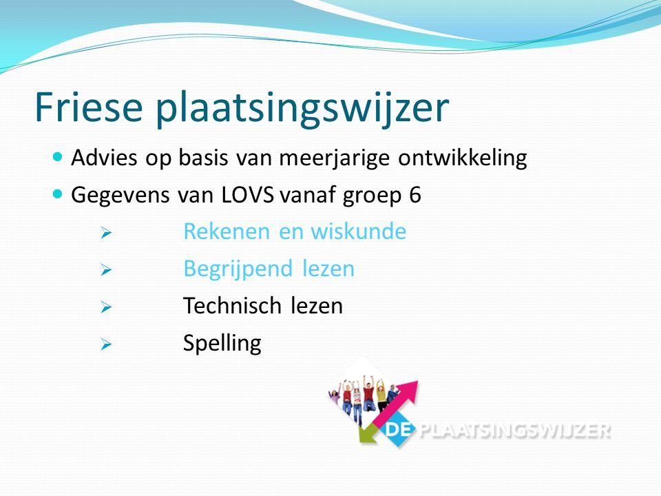 Friese plaatsingswijzer Advies op basis van meerjarige ontwikkeling Gegevens van LOVS vanaf groep 6  Rekenen en wiskunde  Begrijpend lezen  Technis