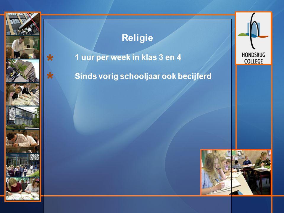 Religie 1 uur per week in klas 3 en 4 Sinds vorig schooljaar ook becijferd * *