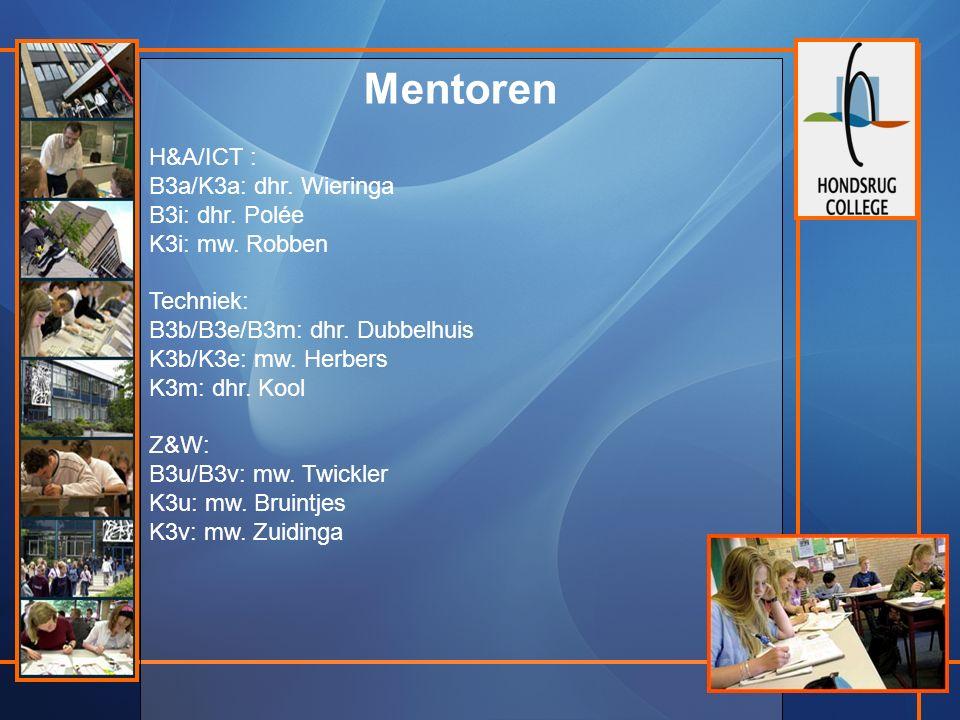 Mentoren H&A/ICT : B3a/K3a: dhr. Wieringa B3i: dhr.