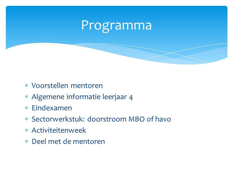  Voorstellen mentoren  Algemene informatie leerjaar 4  Eindexamen  Sectorwerkstuk: doorstroom MBO of havo  Activiteitenweek  Deel met de mentore