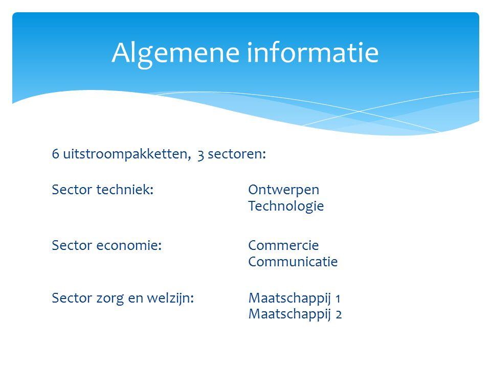 6 uitstroompakketten, 3 sectoren: Sector techniek:Ontwerpen Technologie Sector economie:Commercie Communicatie Sector zorg en welzijn:Maatschappij 1 Maatschappij 2 Algemene informatie