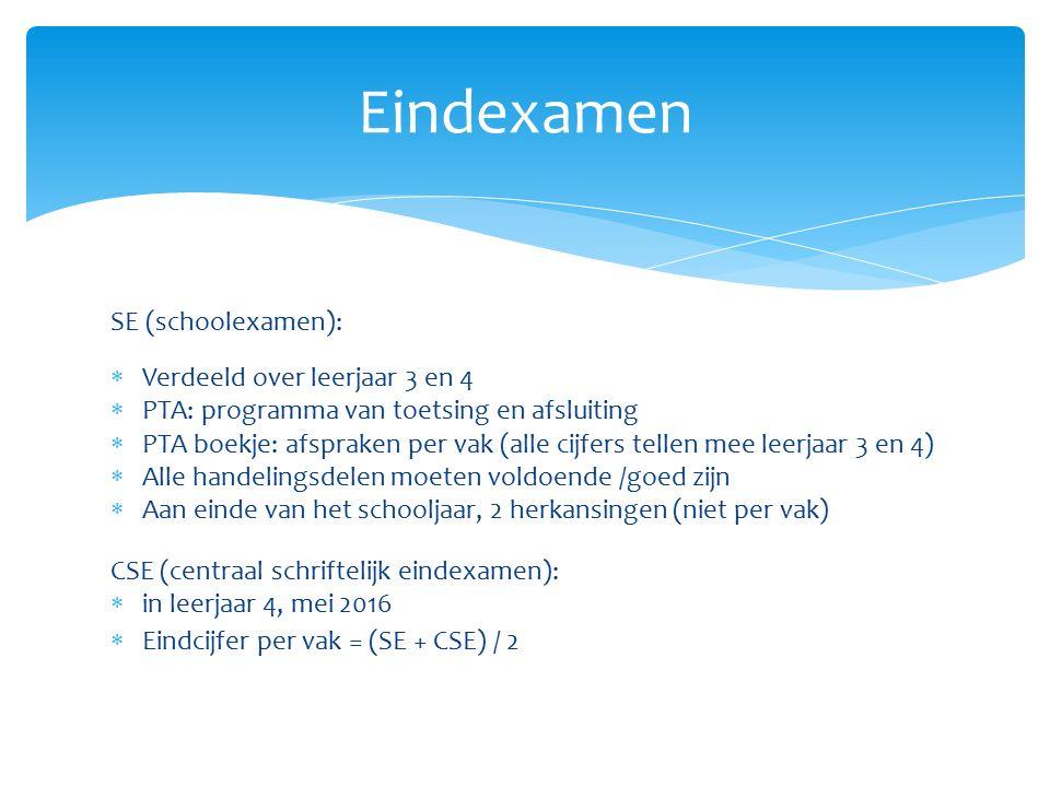SE (schoolexamen):  Verdeeld over leerjaar 3 en 4  PTA: programma van toetsing en afsluiting  PTA boekje: afspraken per vak (alle cijfers tellen me