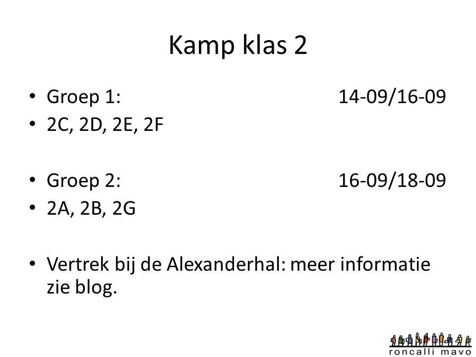 Kamp klas 2 Groep 1:14-09/16-09 2C, 2D, 2E, 2F Groep 2: 16-09/18-09 2A, 2B, 2G Vertrek bij de Alexanderhal: meer informatie zie blog.
