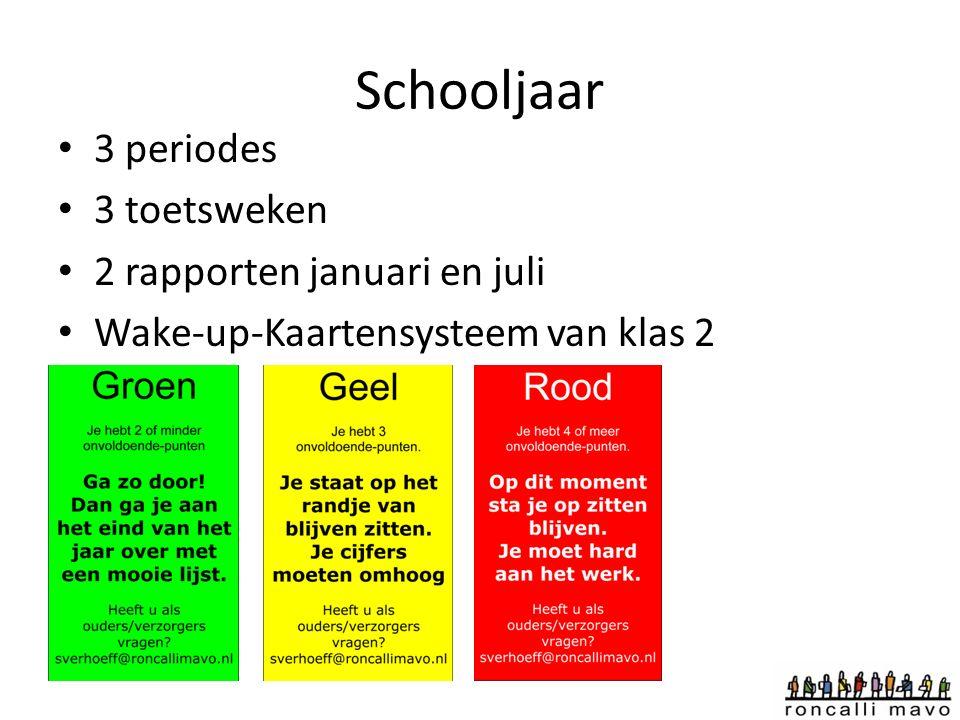 Schooljaar 3 periodes 3 toetsweken 2 rapporten januari en juli Wake-up-Kaartensysteem van klas 2