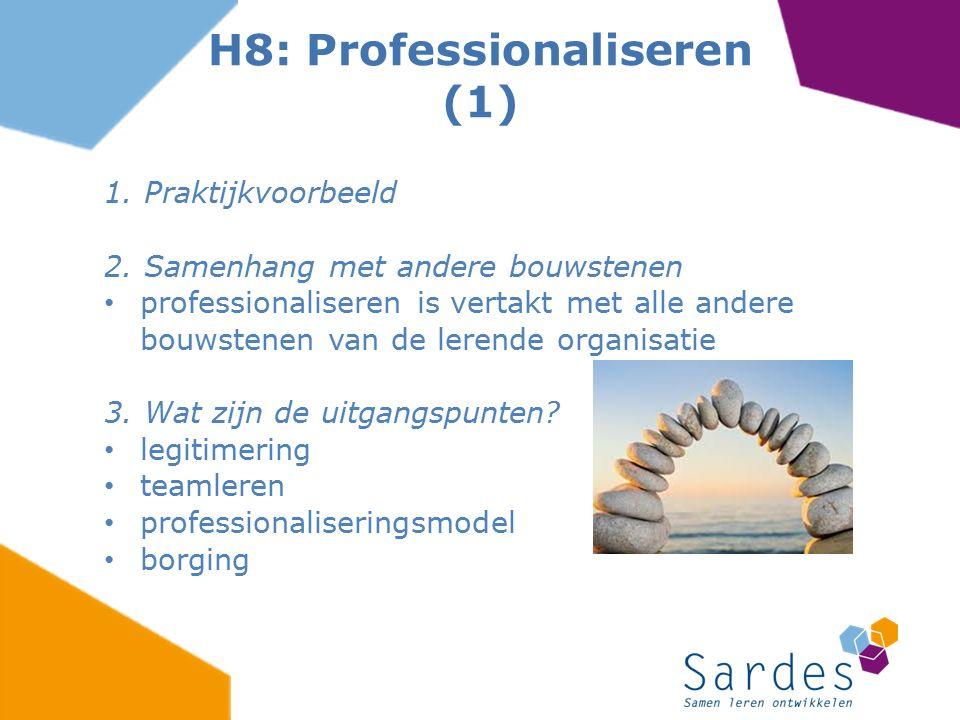 1. Praktijkvoorbeeld 2. Samenhang met andere bouwstenen professionaliseren is vertakt met alle andere bouwstenen van de lerende organisatie 3. Wat zij
