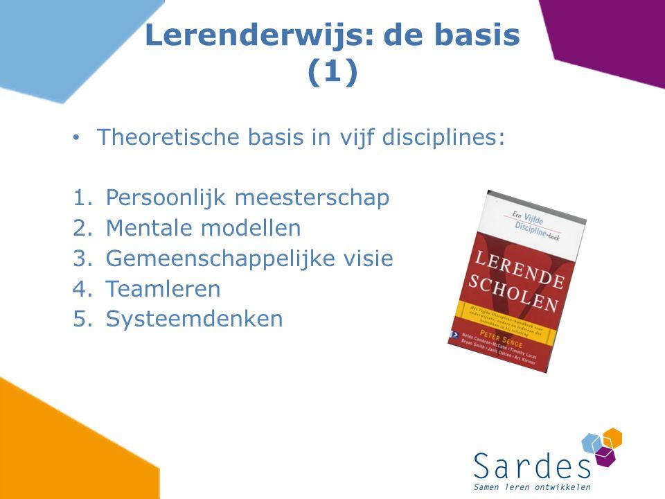 Theoretische basis in vijf disciplines: 1.Persoonlijk meesterschap 2.Mentale modellen 3.Gemeenschappelijke visie 4.Teamleren 5.Systeemdenken Lerenderw