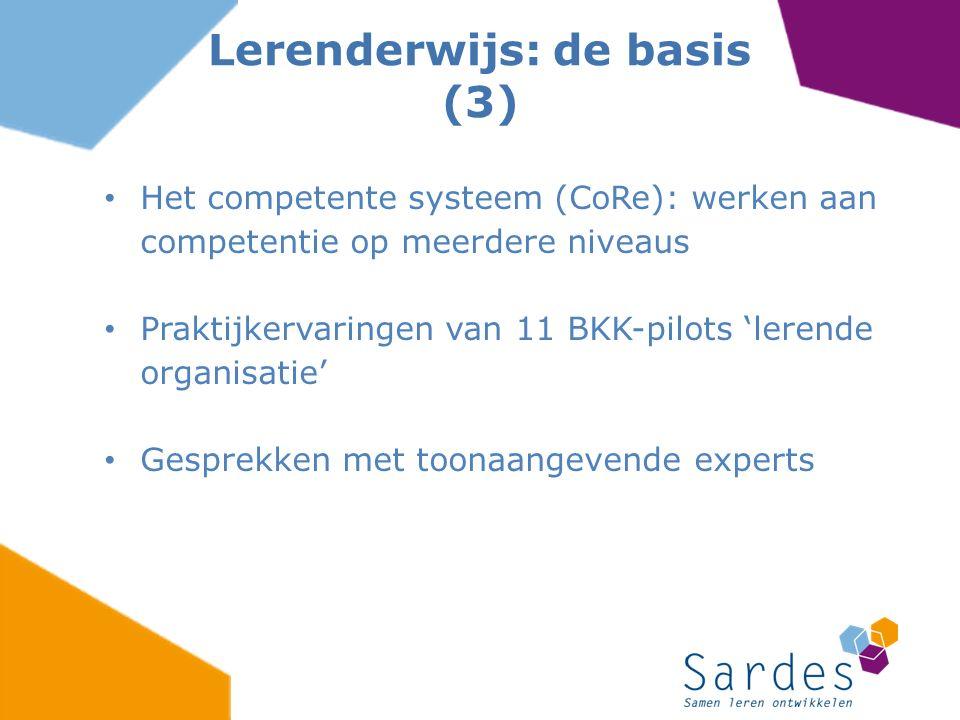Het competente systeem (CoRe): werken aan competentie op meerdere niveaus Praktijkervaringen van 11 BKK-pilots 'lerende organisatie' Gesprekken met to