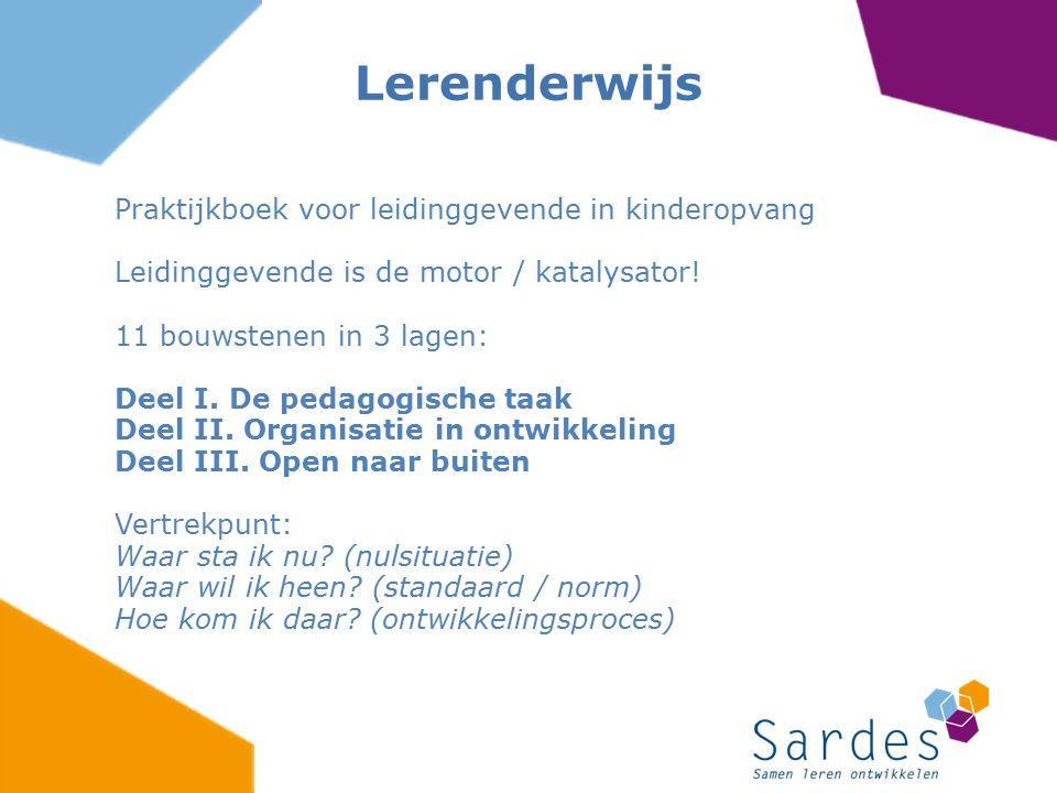 Praktijkboek voor leidinggevende in kinderopvang Leidinggevende is de motor / katalysator! 11 bouwstenen in 3 lagen: Deel I. De pedagogische taak Deel