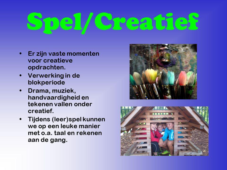 Spel/Creatief Er zijn vaste momenten voor creatieve opdrachten. Verwerking in de blokperiode Drama, muziek, handvaardigheid en tekenen vallen onder cr