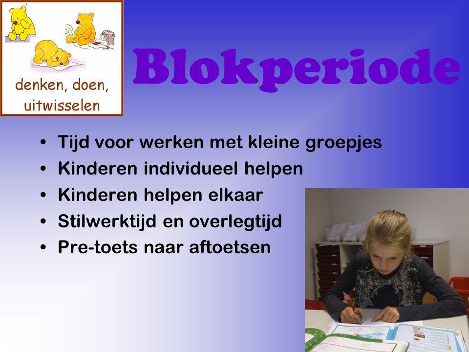 Blokperiode Tijd voor werken met kleine groepjes Kinderen individueel helpen Kinderen helpen elkaar Stilwerktijd en overlegtijd Pre-toets naar aftoetsen
