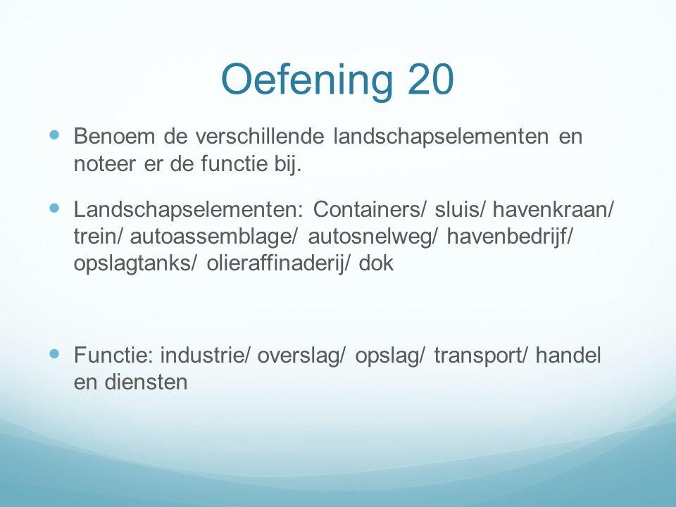 Oefening 20 Benoem de verschillende landschapselementen en noteer er de functie bij. Landschapselementen: Containers/ sluis/ havenkraan/ trein/ autoas